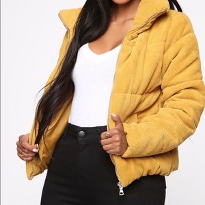Mustard puffer jacket